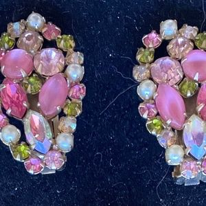SCHREINER Vintage Earrings Pink Olive Rhinestones